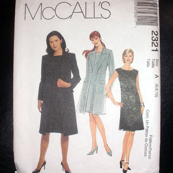 Women's Coat, Dress Misses Size 6, 8, 10 McCall's 2321 Sewing Pattern Uncut