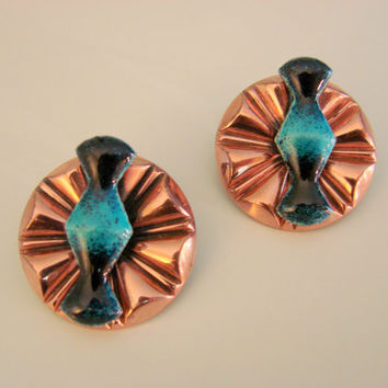 50s-60s Renoir Matisse Copper Enamel Modernist Earrings