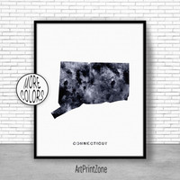 Connecticut Art Print Connecticut Decor Connecticut Print Connecticut Map Art Print Map Artwork Map Print Map Poster ArtPrintZone