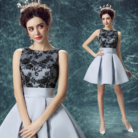 2016 New Arrival Fashion Sexy Short Cocktail Dresses Grey Lace Flower A-line Bride Banquet Party Formal Dresses Robe De Soiree