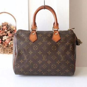 PEAPYD9 Rare Louis Vuitton Bag Speedy 25 Monogram Tote Vintage Handbag