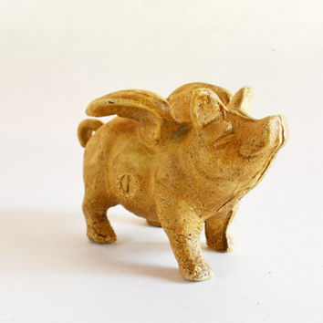Vintage Cast Iron Bank, Cast Iron Pig Bank, Piggy Bank, Metal Flying Pig, Animal Bank, Cast iron Pig, Cast Iron Piglet, Metal Pig