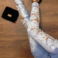 New Women Lace Splicing Denim Skinny Pants Stretch Jeans Slim Pencil Trousers