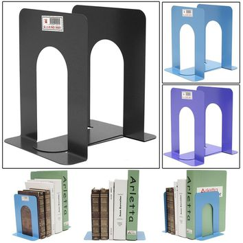 New 1 Pair Heavy Duty Metal Anti-skid Book Ends Shelf Practical Bookend Holder Office School Stationery