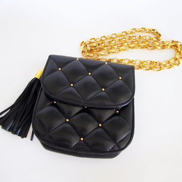 Vintage 80s Black Quilted Faux Leather Chanel Style Tassel Shoulder Bag