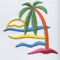 Palm Tree - Sand and Sunset - Colorful - Iron on Applique - Embroidered Patch - 150864