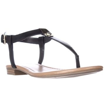 SC35 Baileyy T-Strap Flat Sandals, Black, 7.5 US