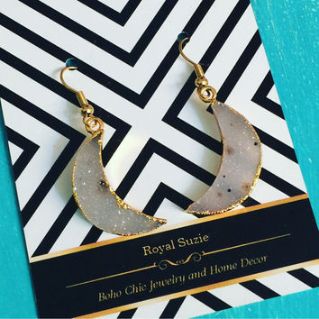 Natural Druzy Crescent Moon Earrings // Royal Suzie Boho