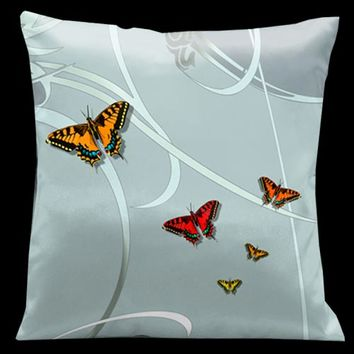Lama Kasso 21 Precious Metals Glass with Butterflies and Silver Grey Accents 18 x 18 Satin Pillow