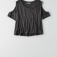 Don't Ask Why Cold Shoulder T-Shirt , Charcoal