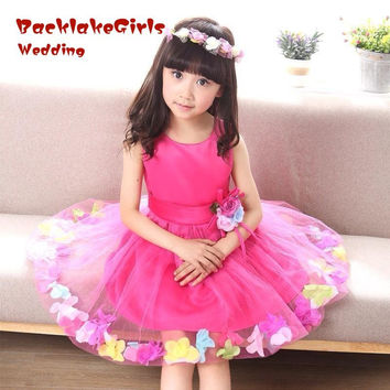 2017 Hot Sale Flower Girl Dresses Easter Junior Cheap White Curl Princess Girl Dress Communication Dress