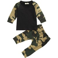 Cutie Camo Baby T-Shirt and Pants Two Piece Set
