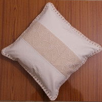 Premium PILLOW COVER, Handmade CROCHET Cushion Cover, Decorative Throw Pillow, Home Decor - White and Natural Color