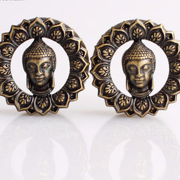 Buddha helix ear plug tunnel bronze ~ Ear gauges 8-25mm