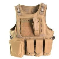 Outdoorguru Tactical Vest Military Army USMC Airsoft Paintball Combat Assault Soft Molle Vest Tan