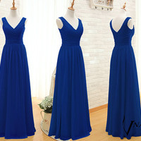 Royal Blue Prom Dress Custom Made Size Color Elegant Formal V Neck Spaghetti Strap Zipper Up Back Long Chiffon Royal Blue Evening Dresses