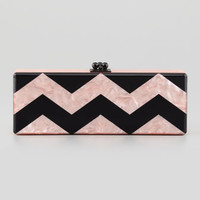 Flavia Chevron Acrylic Clutch Bag, Pink/Black