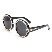 Black Cut Out Design Alloy Frame Sunglasses