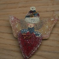lapel pin of angel by rocksntwigs on Etsy