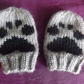 Thumbless Baby Mittens - Knitted Baby Mittens - Thumbless Mittens with Paw Print - Baby Animal Mittens