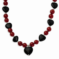 Sterling Silver & Blk Agate, Red Agate Beads Necklace