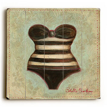 Stripped Bathing Suit by Artist Colette Cosentino Wood Sign