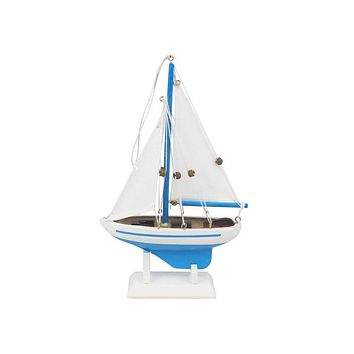 Wooden Light Blue Sailboat Model Christmas Tree Ornament 9""