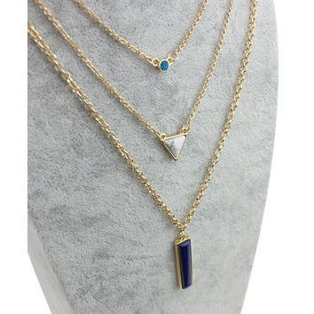 Multi Layer Bohemia Gold Plated Pendant Necklace