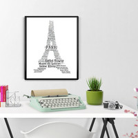 Eiffel Tower PARIS Word Art -Printable, Wall Art, Typography, Word Art, Home Decor, French Wall Art, Wall Decor