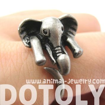 Realistic African Elephant Animal Wrap Ring in Silver Sizes 6 to 10.5