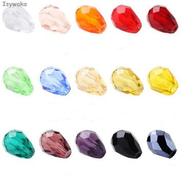 100pcs Teardrop Beads Austria Crystal Beads Waterdrop Beads Loose Spacer Bead for DIY Jewelry Making 3x5mm U Pick Colors