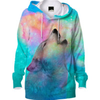 Dreamer of Dreams (Galaxy Wolf Howl Version 2) Unisex Hoodie created by soaringanchordesigns | Print All Over Me