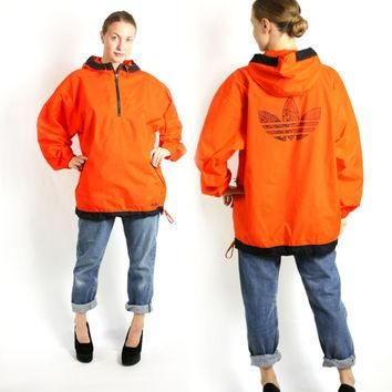 Vintage 90's Adidas Bright Orange Sport Track Jacket, Adidas Windbreaker, Trefoil Rain