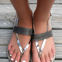 Maldives Metallic Strap Textured Pewter Thong Sandals