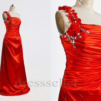 One Shoulder Strap Red Satin Long Evening Dress Party Gown Elegant Formal Ocassion Dress Prom Dress Custom Color & Size