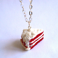 Scented Red Velvet Cake Necklace Scented Food Necklace Miniature Food Jewelry