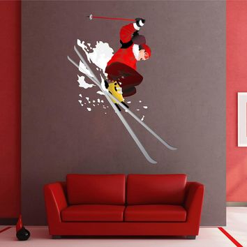 cik1416 Full Color Wall decal woman skier skiing sports hall bedroom sports shop