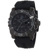 U.S. Marine Corps WA124 Men's Armor Swiss Tritium Sport Black Dial Silicone Strap Dive Black IP Steel Watch