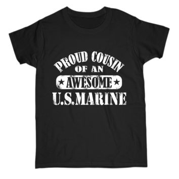 Gift For Cousin Of A US Marine Womens T Shirt Premium Cotton Tee