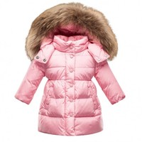Moncler Justin Baby Long Jacket With Fur