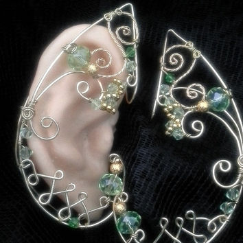 Elven Green and Gold Ear wrap Fairy Fantasy  Jewellery  -Crystal pair  Fairy ears-Custom wire wrapped unique