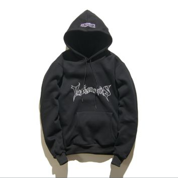 Autumn and winter tide brand Vetements hooded coat men and women loose lovers sweater Black