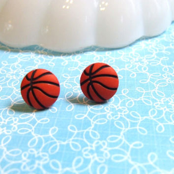 Basketball Earrings - Baller Player Sport Tomboy NBA - Jumpshot Dribble Alleyoop - Post Earrings Stud Earrings - Hypoallergenic Nickel Free