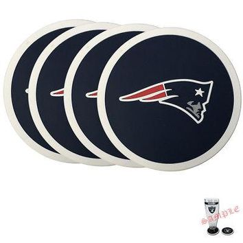 Licensed Official Brand New 4pcs Set NFL New England Patriots Heavy Duty Rubber Vinyl Coasters