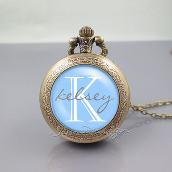 Monogram Pocket Watch Locket Necklace,vintage Blue pendant - ALL Colors Can be changed! [ Font style, Font color, Background color ... ]