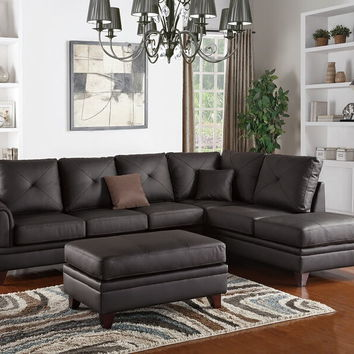 Poundex F6874 2 pc felicia iii collection brown top grain leather match sectional sofa with reversible chaise lounge