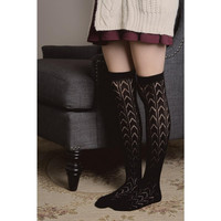 Thigh High Chevron Pattern Socks - Black