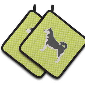 Siberian Husky Checkerboard Green Pair of Pot Holders BB3880PTHD