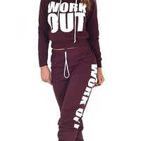 Darin Imlay Women Ladies Work Out Cropped Hoody Top and Joggers Pants Set