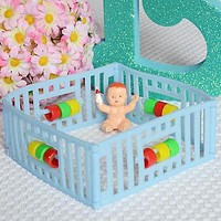Vintage Playpen Baby with Bottle Birthday Cake Topper Baby Shower Decoration
